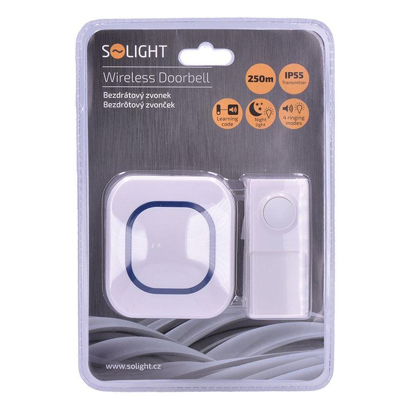 Solight bezdrátový zvonek, do zásuvky, 250m, bílý, learning code