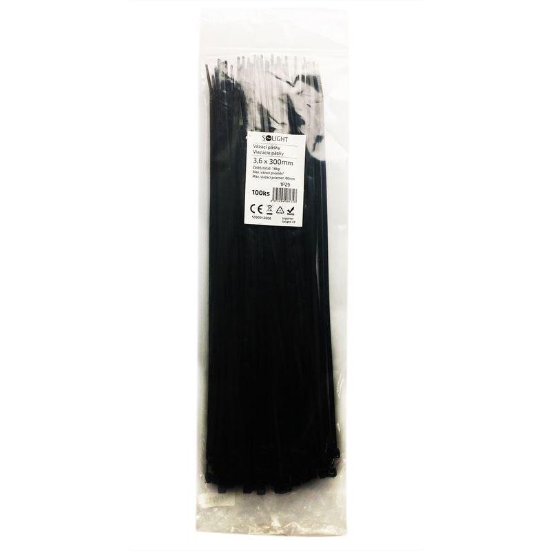 Solight vázací nylonové pásky, 3,6 x 300mm, černá, 100ks