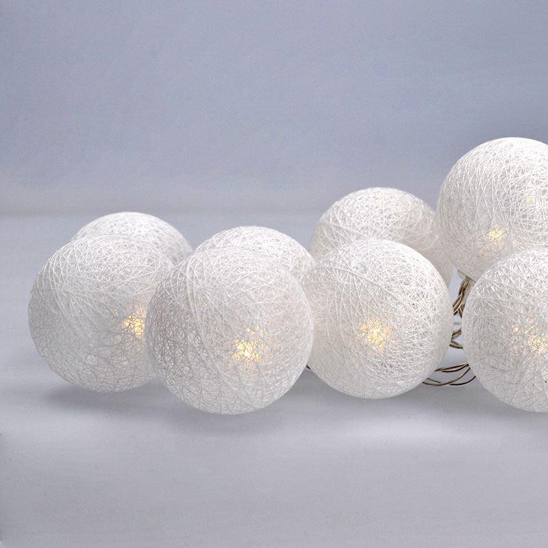 Solight LED řetěz vánoční koule bavlněné, 10LED, 1m, 2x AA, IP20