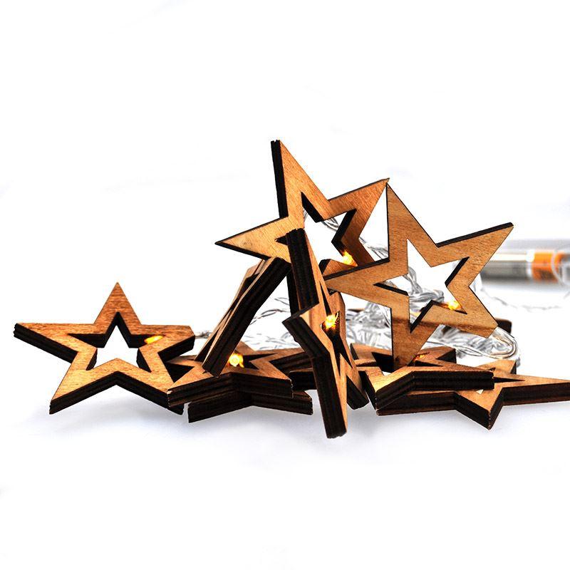 Solight LED řetěz vánoční hvězdy dřevěné, 10LED řetěz, 1m, 2xAA, IP20