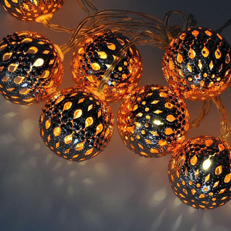 Solight LED řetěz vánoční koule měděné, 10LED řetěz, 1m, 2x AA, IP20