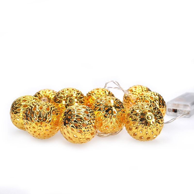 Solight LED řetěz vánoční koule zlaté, 10LED řetěz, 1m, 2x AA, IP20