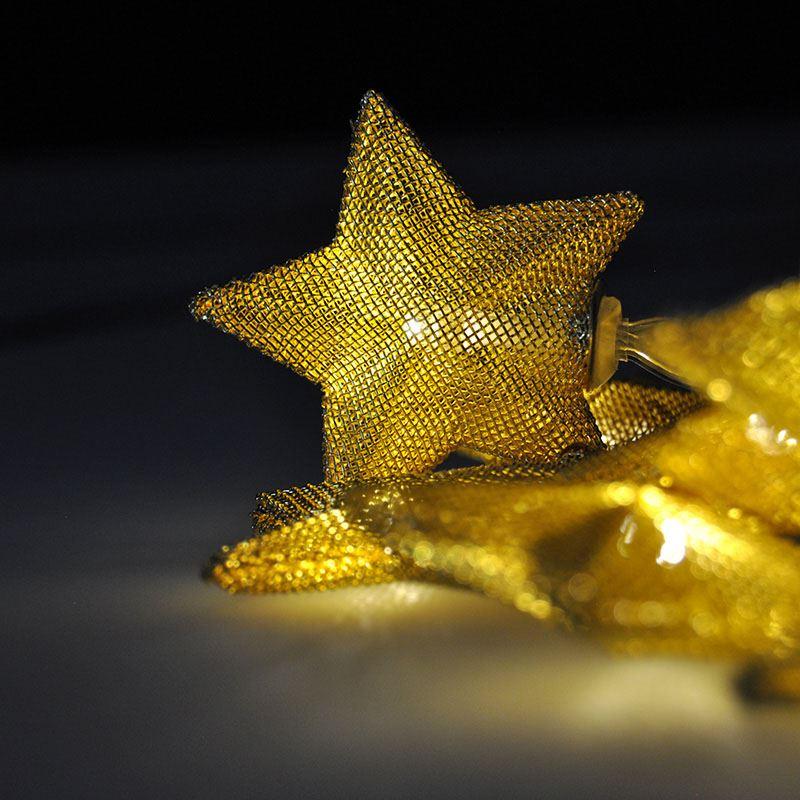 Solight LED řetěz vánoční hvězdy zlaté, 10LED řetěz, 1m, zlatá barva, 2x AA, IP20