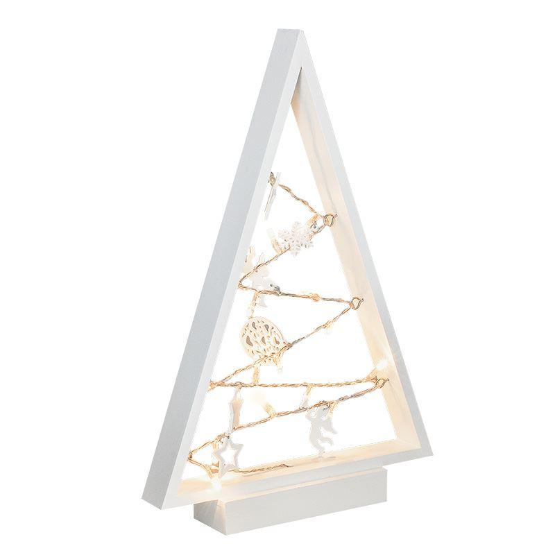 Solight LED dřevěný vánoční stromek s ozdobami, 15LED, přírodní dřevo, 37cm, 2x AA