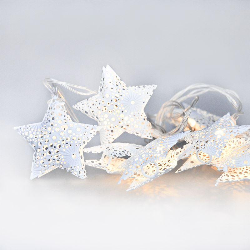 Solight LED řetěz vánoční hvězdy, kovové, bílé, 10LED, 1m, 2x AA, IP20