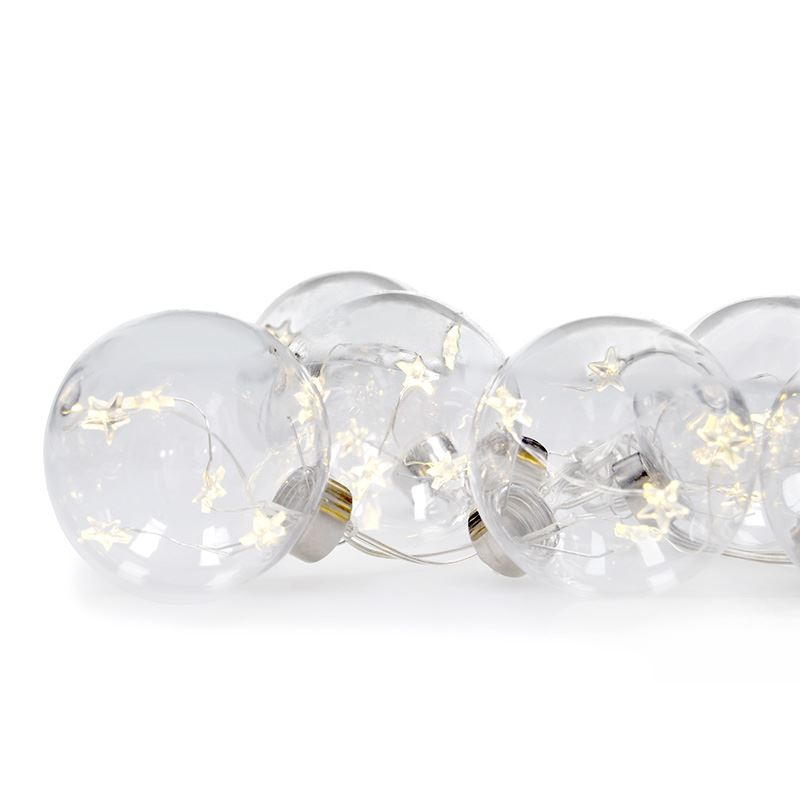 Solight sada LED vánočních koulí s hvězdami, vel. 8cm, 6ks, 30LED,časovač, tester, 3xAA