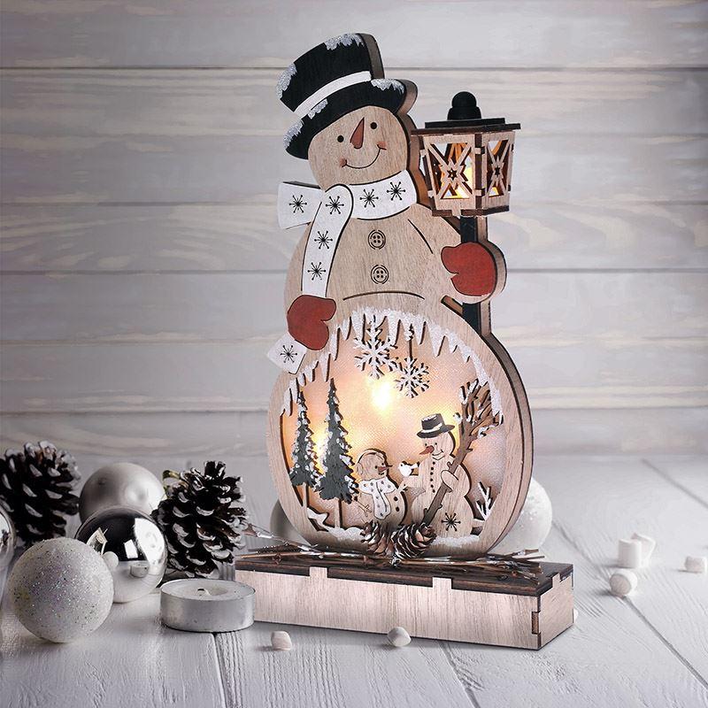 Solight dřevěný sněhulák, 4x LED, 2x AA