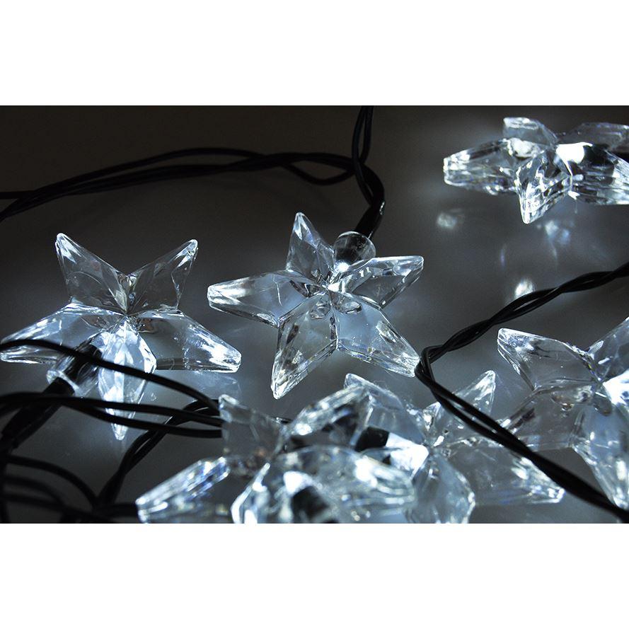 Solight LED vánoční řetěz, hvězdy, 20 LED, 3m, přívod 3m, IP20, bílá