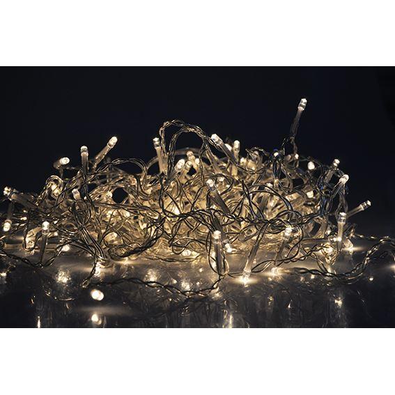 Solight LED vánoční závěs, rampouchy, 120 LED, 3m x 0,7m, přívod 6m, venkovní, teplé bílé světlo, paměť, časovač