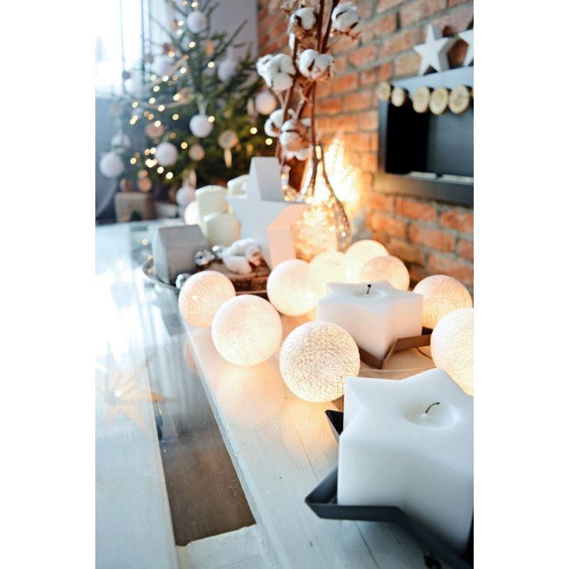Solight LED vánoční koule bavlněné, 20LED, 3m, IP20