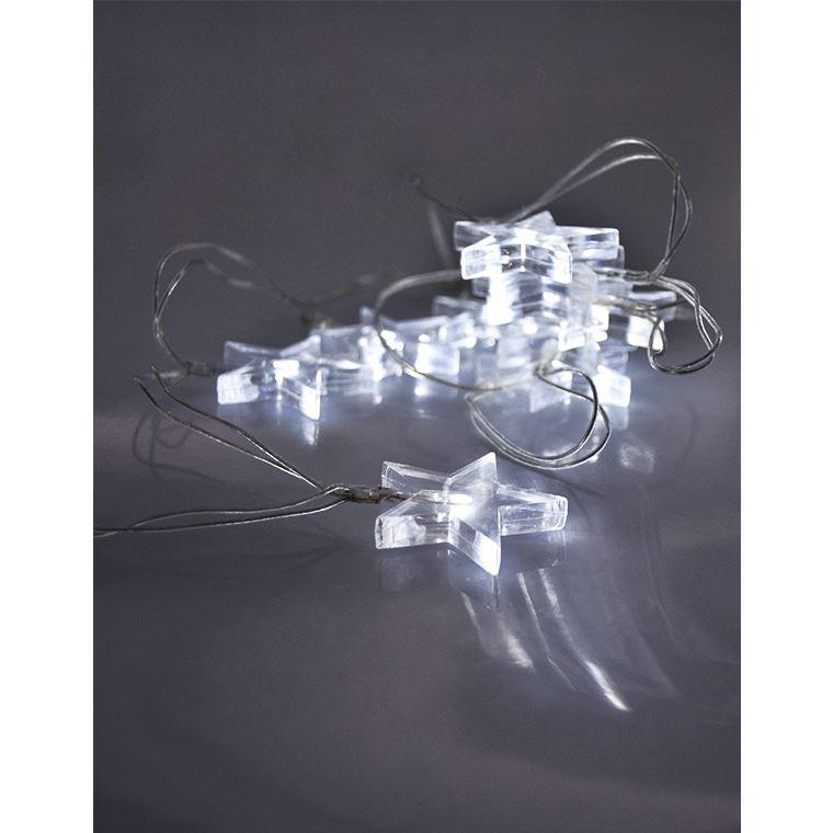 Solight LED vánoční řetěz, hvězdy, 1,5m, 10x LED, 2x AA, bílé světlo
