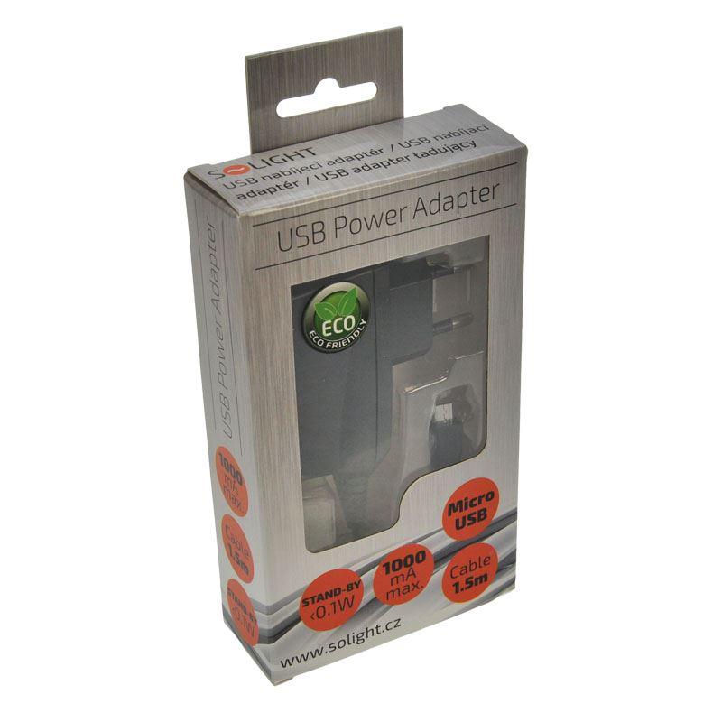 Solight USB nabíjecí adaptér, kabel microUSB, 1500mA, AC 230V, černý