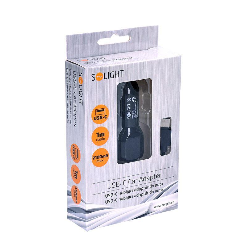 Solight USB-C nabíjací adaptér do auta, 5V/2100mA, 12-24V, černá