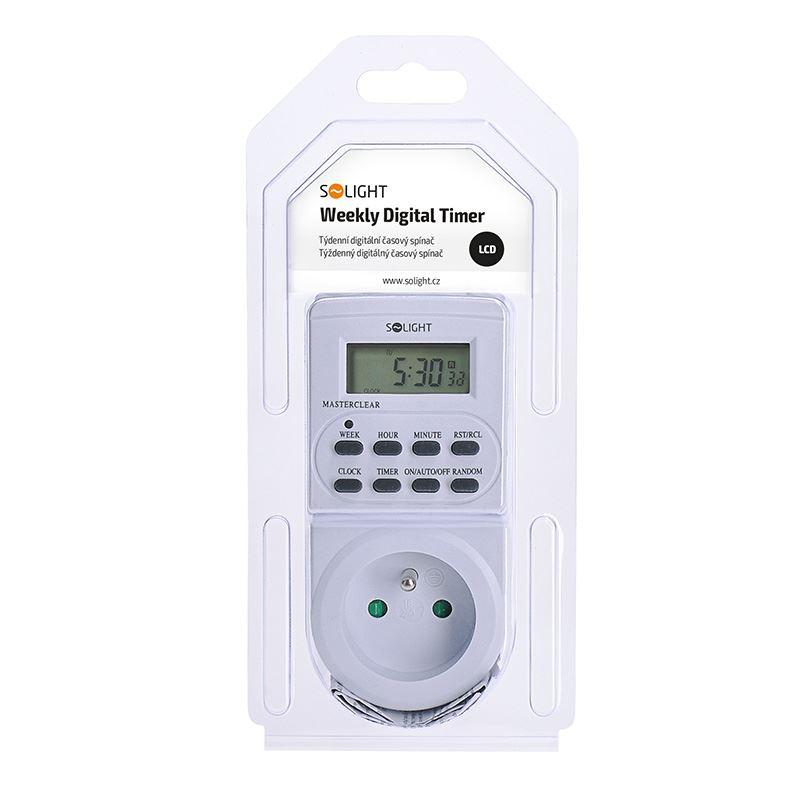 Solight časový spínač digitální, displej, 16 režimů