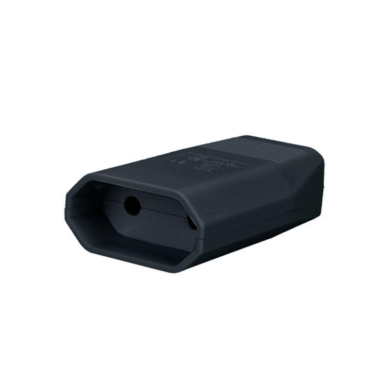 Solight zásuvka plochá 2.5A, přímá, IP20, černá