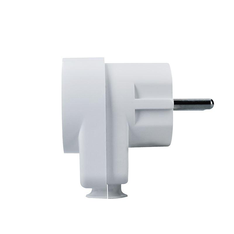 Solight zástrčka lomená, s průběžnou zásuvkou, IP20, bílá