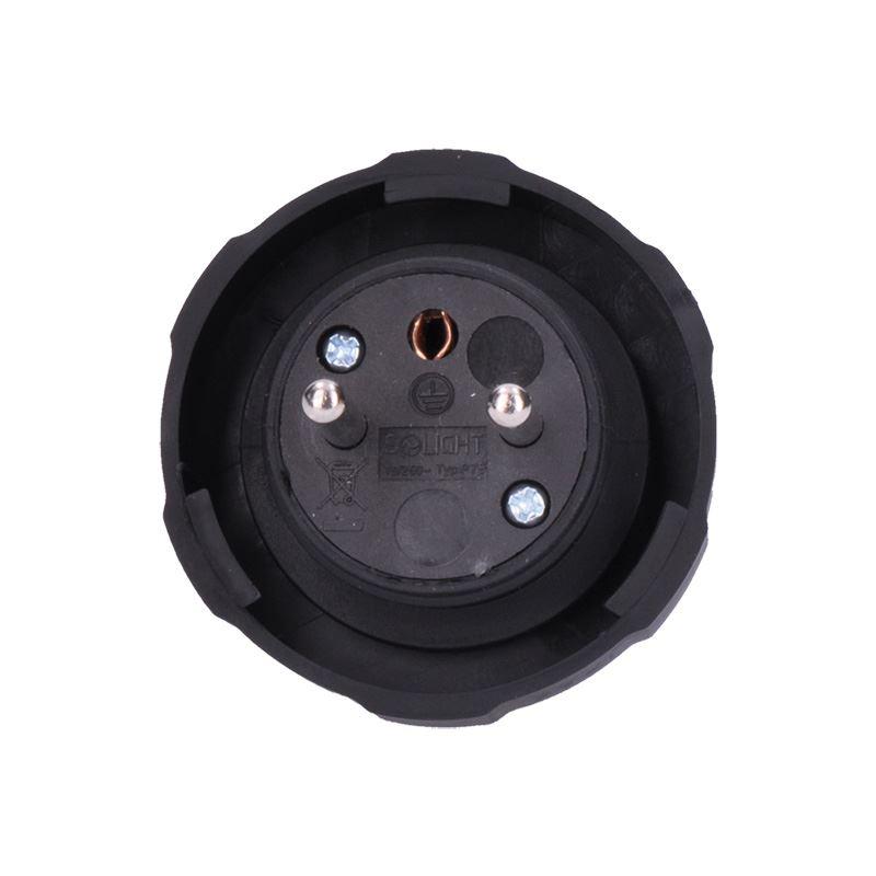 Solight zástrčka gumová do vlhka a prachu, přímá, IP65, černá