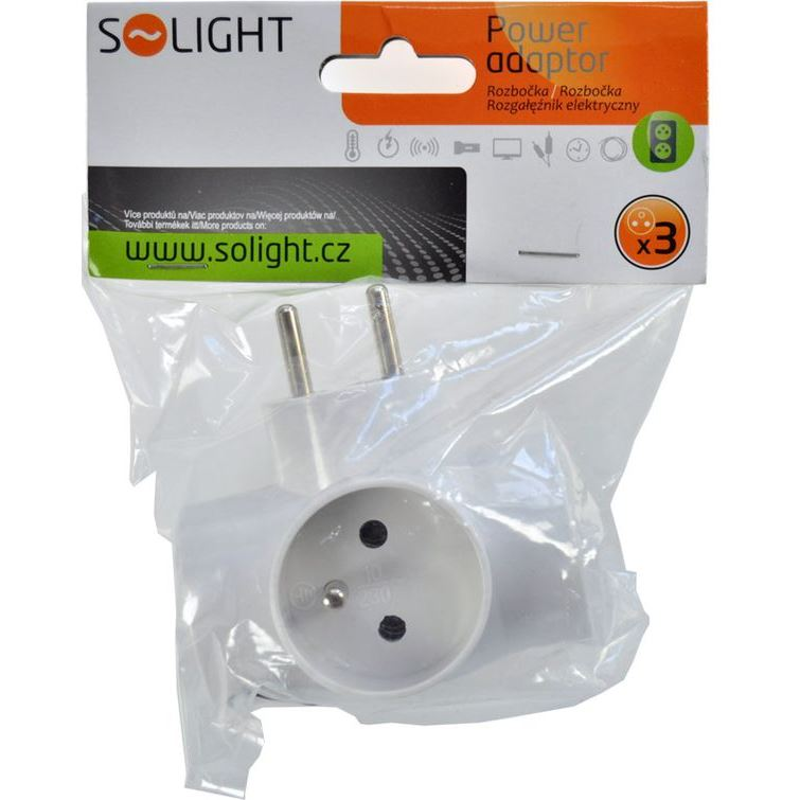 Solight rozbočka, 3x 10A, bílá