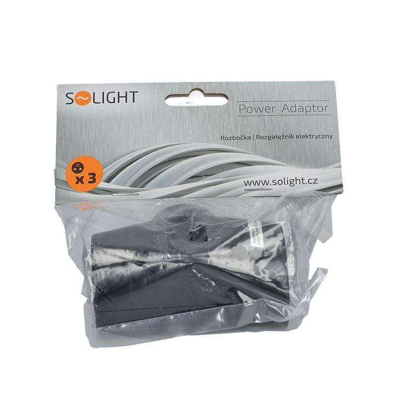 Solight rozbočka, 2,5A + 2x 10A, černá