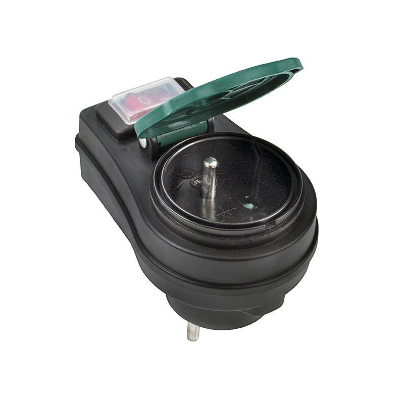 Solight zásuvka průběžná IP44, 16A, černá, vypínač