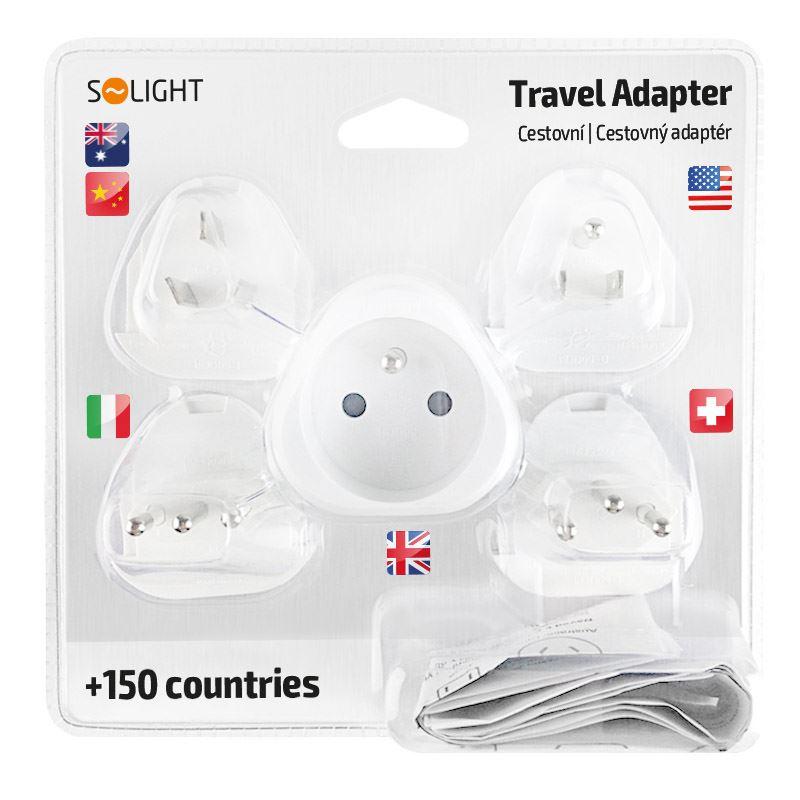 Solight cestovní adaptér, uzemněný, výměnné vidlice pro celý svět