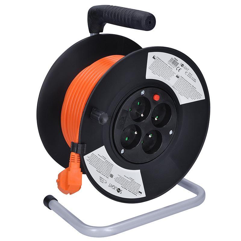Solight prodlužovací přívod na bubnu, 4 zásuvky, oranžový kabel, černý buben, 20m