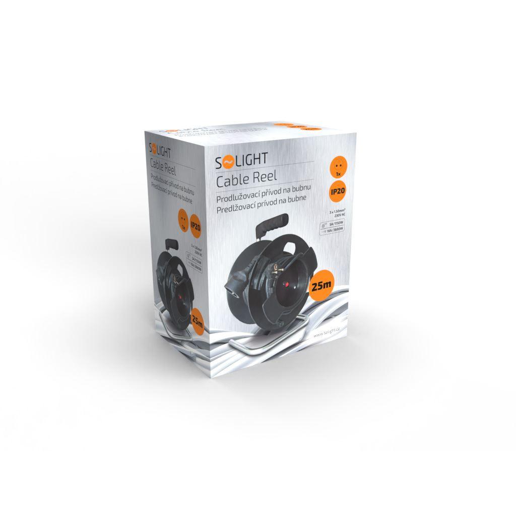 Solight prodlužovací přívod na bubnu, 1 zásuvka, 25m, černý kabel, 3x 1,5mm2
