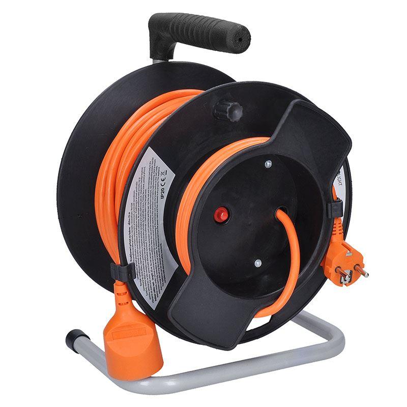 Solight prodlužovací přívod - na bubnu, 1 zásuvka, 25m, oranžový kabel, 3x 1,5mm2