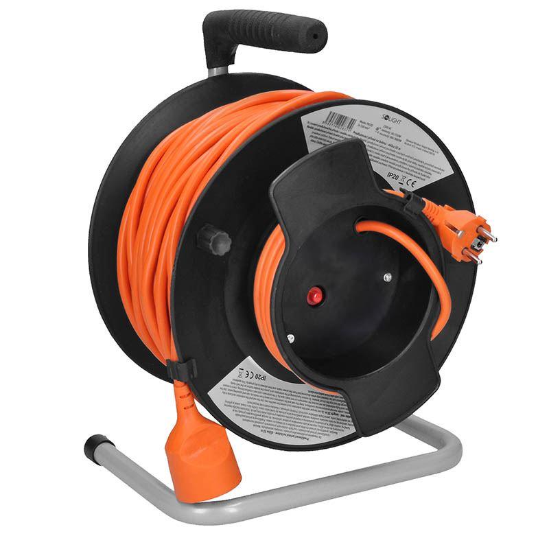 Solight prodlužovací přívod - na bubnu, 1 zásuvka, 50m, oranžový kabel, 3x 1,5mm2