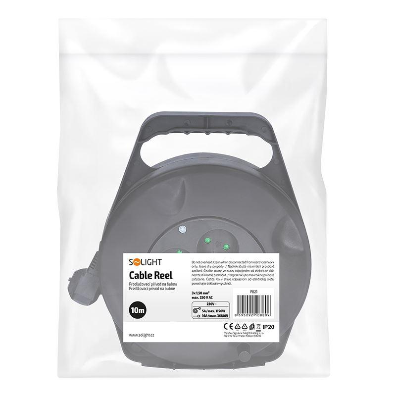 Solight prodlužovací přívod na bubnu, 4 zásuvky, 10m, černý kabel, 3x 1,5mm2