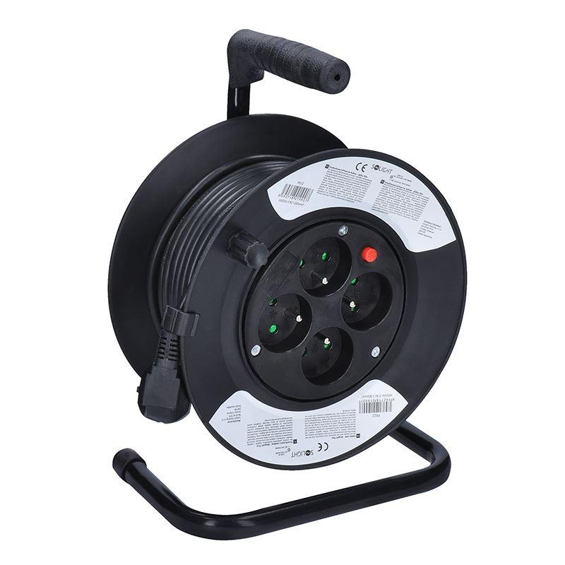 Solight prodlužovací přívod na bubnu, 4 zásuvky, černý kabel 3x 1,0mm2, 15m