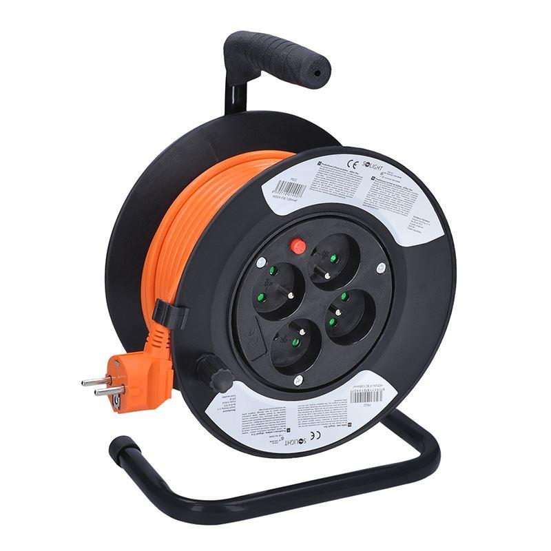 Solight prodlužovací přívod - na bubnu, 4 zásuvky, 15m, oranžový kabel, 3x 1,0mm2