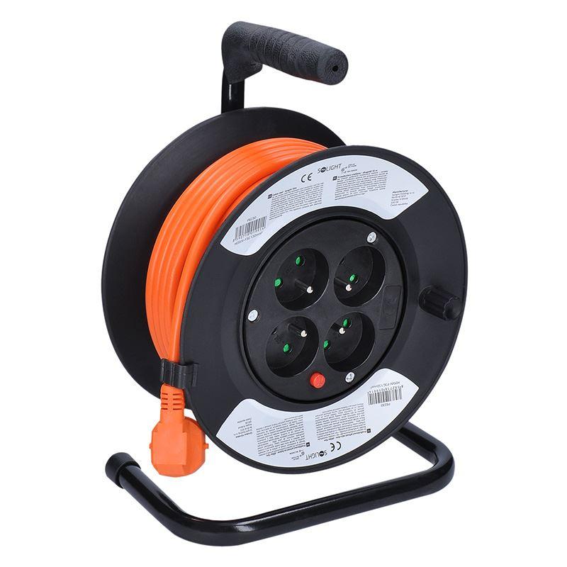 Solight prodlužovací přívod na bubnu, 4 zásuvky, oranžový kabel, 15m