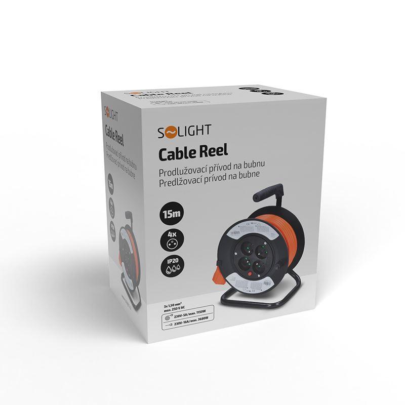 Solight prodlužovací přívod na bubnu, 4 zásuvky, 15m, oranžový kabel, 3x 1,5mm2