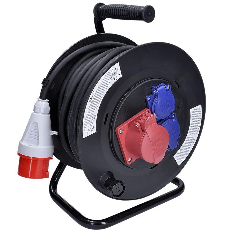 Solight prodlužovací přívod na bubnu, 3 zásuvky, 400V + 230V, 25m gumový kabel 3x1,5mm2, IP44