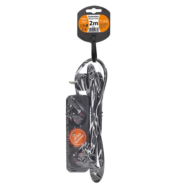 Solight prodlužovací přívod, 3 zásuvky, černý, 2m
