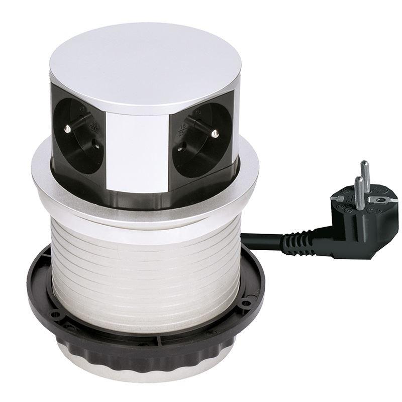 Solight prodlužovací přívod, 4 zásuvky, stříbrný, 1,5m, výsuvný blok zásuvek, kruhový tvar