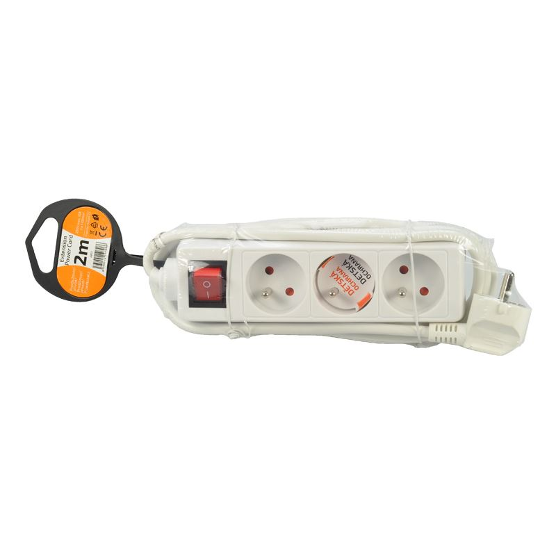 Solight prodlužovací přívod, 3 zásuvky, bílý, vypínač, 2m