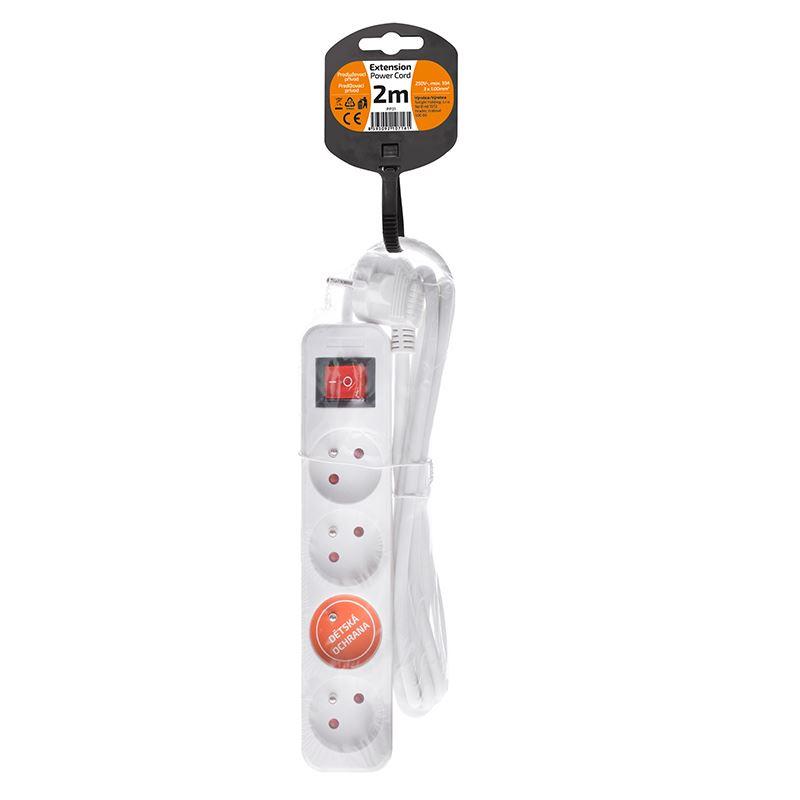 Solight prodlužovací přívod, 4 zásuvky, bílý, vypínač, 2m