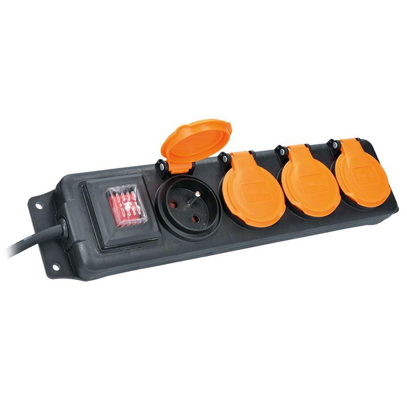 Solight prodlužovací přívod IP44, 4 zásuvky, gumový kabel, vypínač, venkovní, 5m
