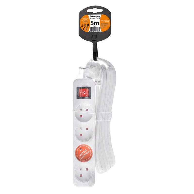 Solight prodlužovací přívod, 4 zásuvky, bílý, vypínač, 5m