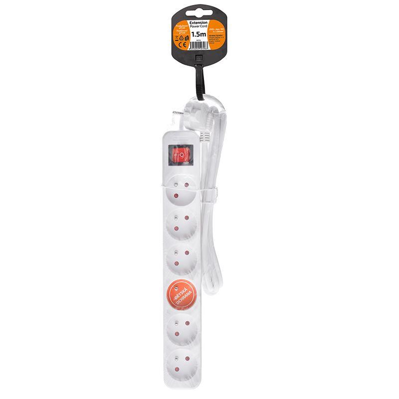 Solight prodlužovací přívod, 6 zásuvek, bílý, vypínač, 1,5m