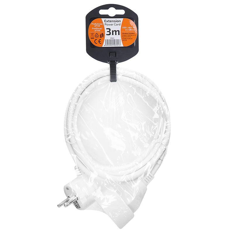 Solight prodlužovací přívod - spojka, 1 zásuvka, 3m, 3 x 1mm2, bílá