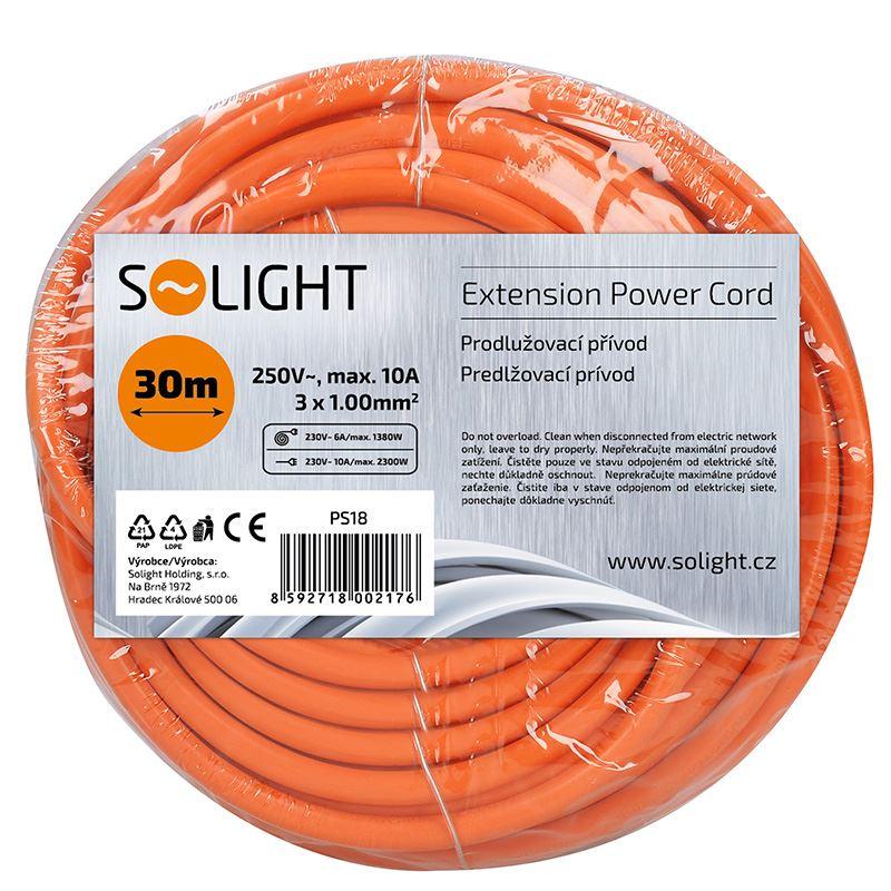 Solight prodlužovací přívod - spojka, 1 zásuvka, 30m, 3 x 1mm2, oranžová