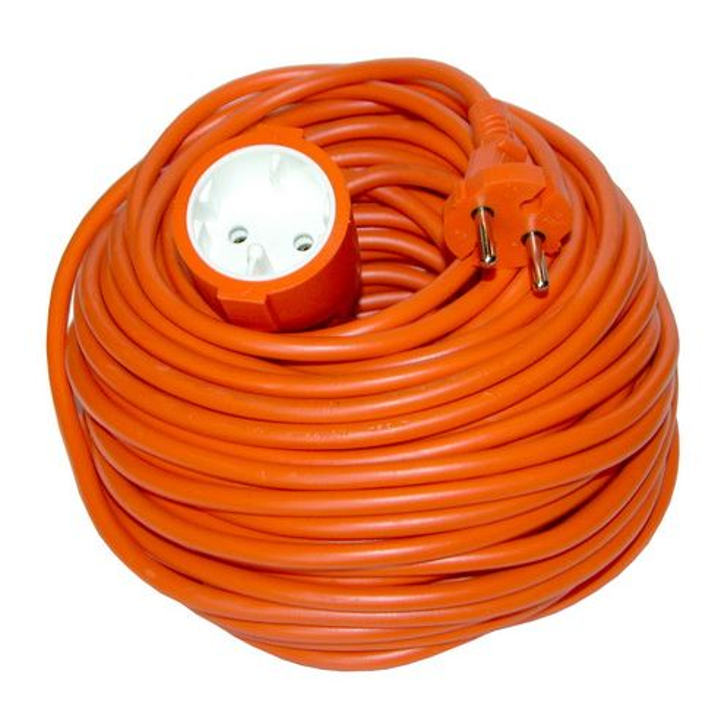 Solight prodlužovací kabel - spojka, 1 zásuvka, oranžová, plochá, 20m