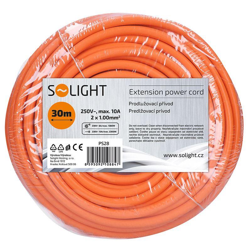 Solight pohyblivý přívod - spojka, 1 zásuvka, 30m, 2 x 1mm2, oranžová