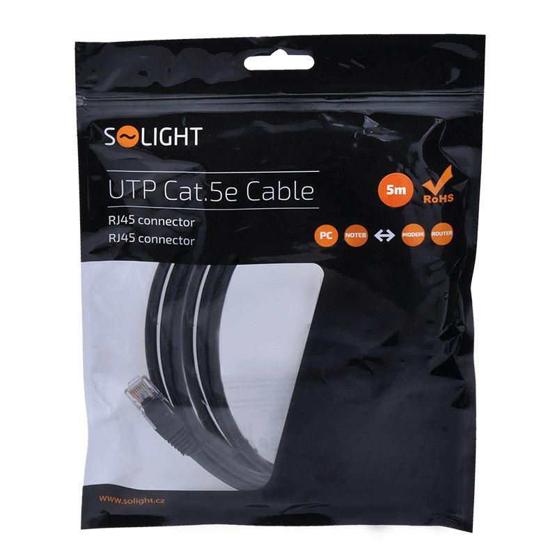 Solight UTP CAT.5E kabel, RJ45 konektor - RJ45 konektor, sáček, 5m