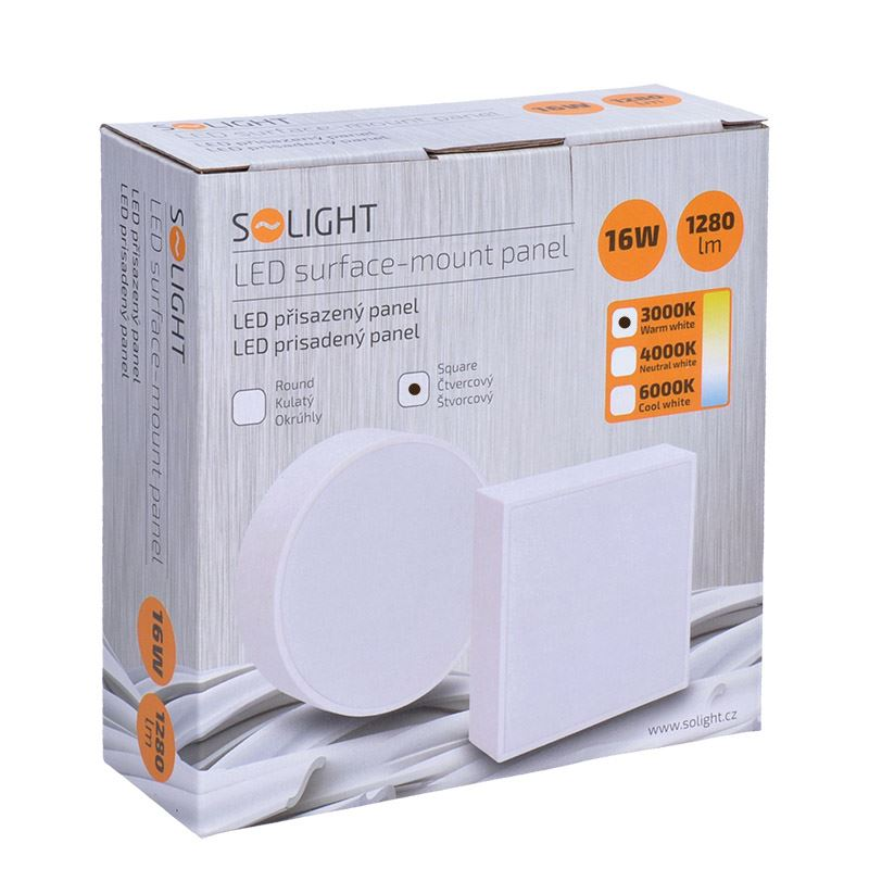 Solight LED panel s tenkým rámečkem, 16W, 1280lm, 3000K, přisazený, čtvercový, bílý