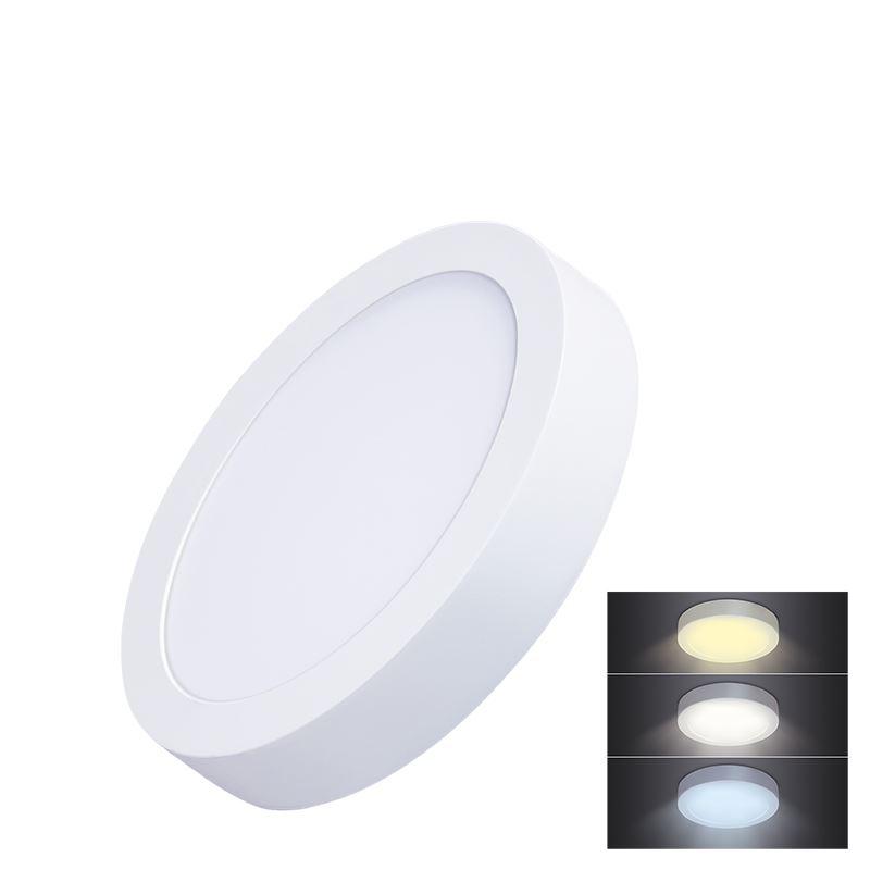 Solight LED mini panel CCT, přisazený, 12W, 900lm, 3000K, 4000K, 6000K, kulatý