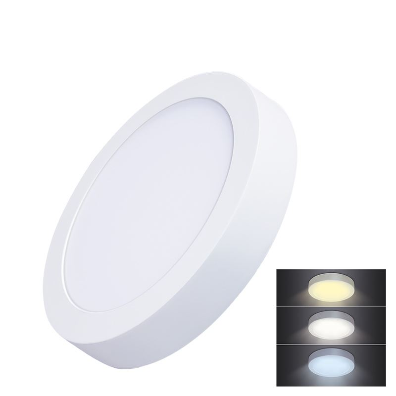Solight LED mini panel CCT, přisazený, 18W, 1530lm, 3000K, 4000K, 6000K, kulatý